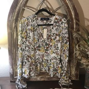Blue stair Blouse Size Medium  Cream With Flowers